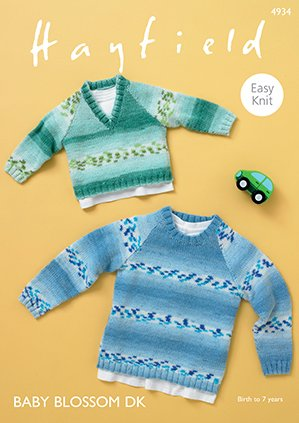 V-Neck & Round Neck Pullover Pattern from Hayfield 4934