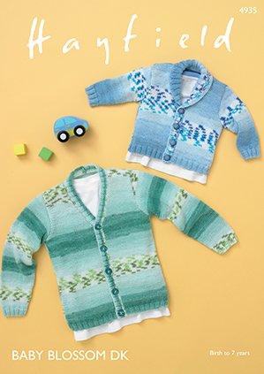Shawl Collar & V-Neck Cardigan Pattern 4935