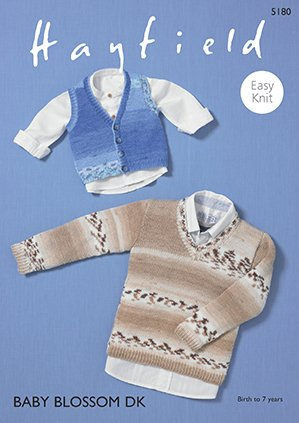 Boys Vest & V-Neck Sweater Pattern 5180