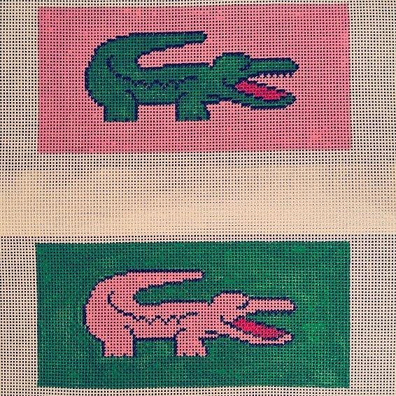Green Croc/Pink Background Eyeglass Case