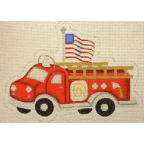 Red Fire Engine with Flag Ornament