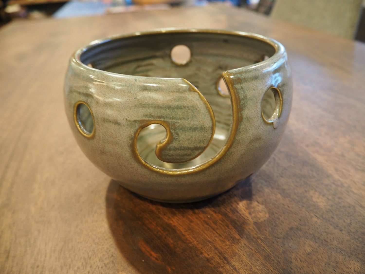 Grey Holey Yarn Bowl