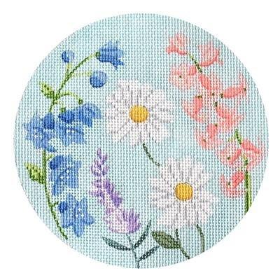 English Garden Round Needlepoint Ornament, Blue & Purple