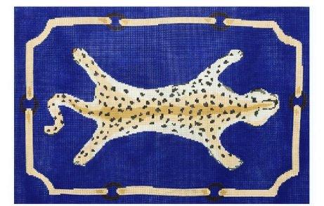 Leopard Pillow in Blue