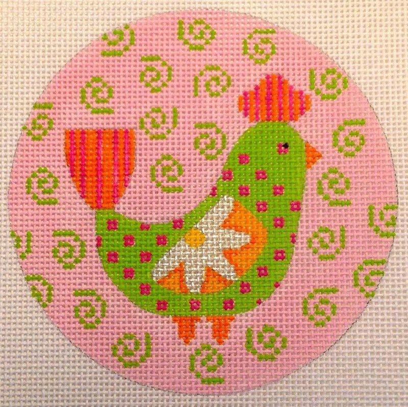 Green/Pink Peacock Ornament N-113E