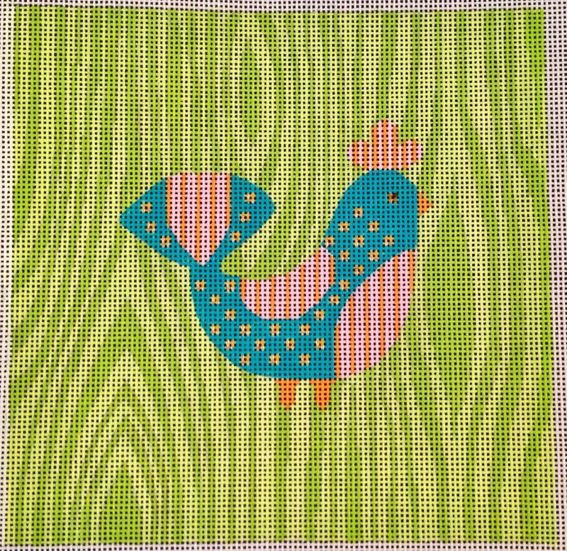 Turquoise Bird on Green N114A