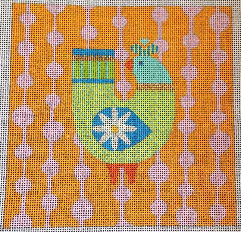 Bright Bird on Orange & Pink Background N114C