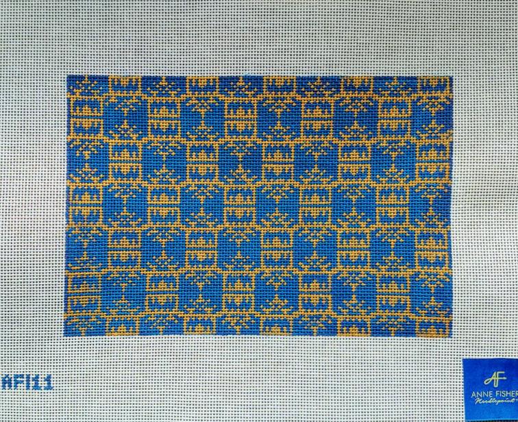 Navy/Gold Pagoda Print Clutch