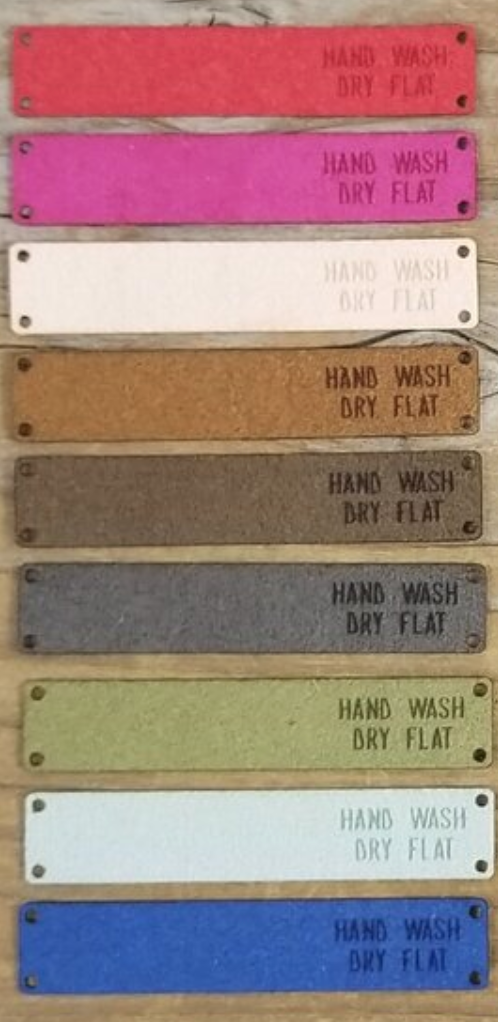 Faux Suede Hand Wash Dry Flat Tag