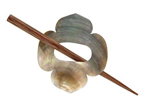 Shell Clover Shawl Pin