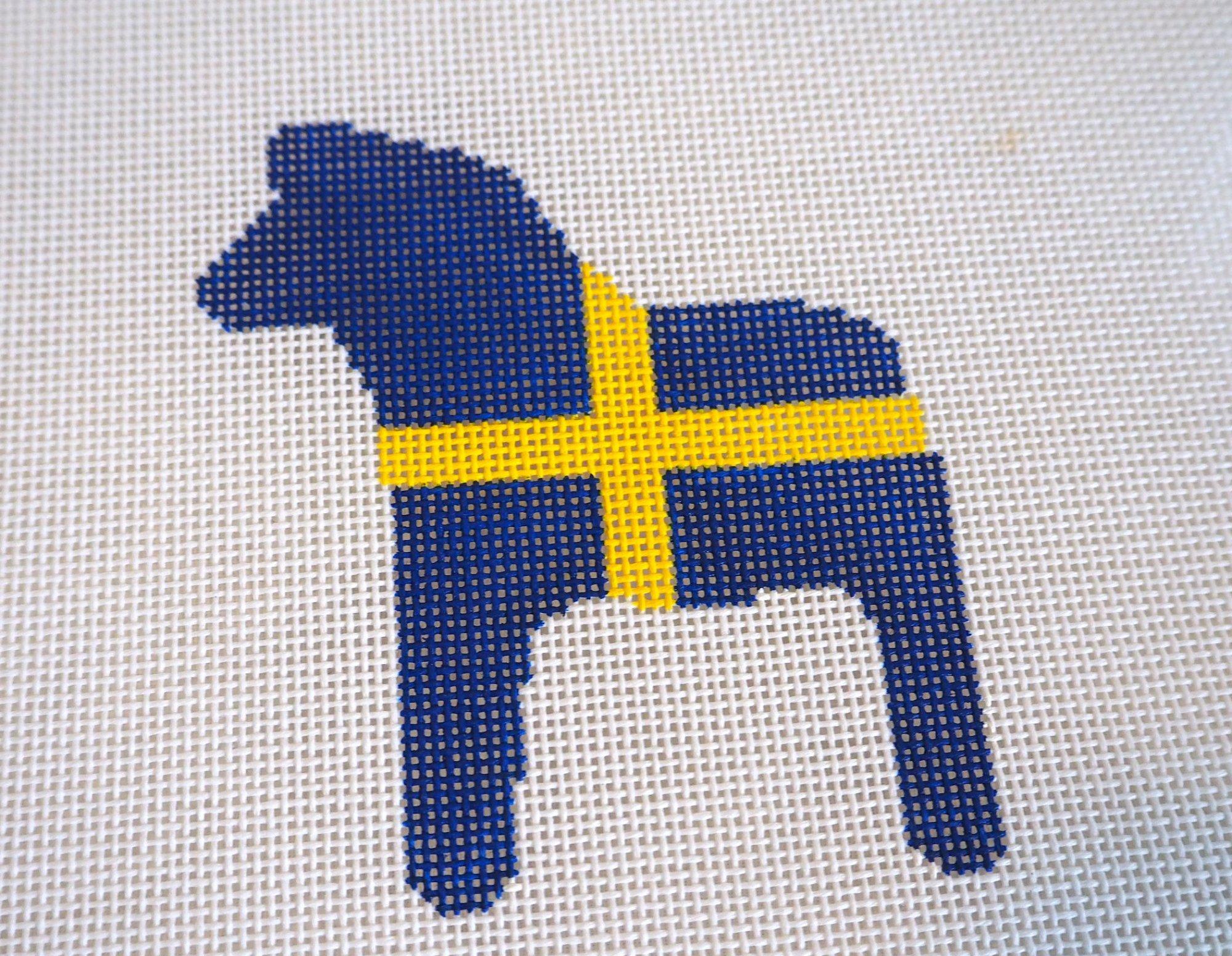 Swedish Horse Needlepoint Ornament