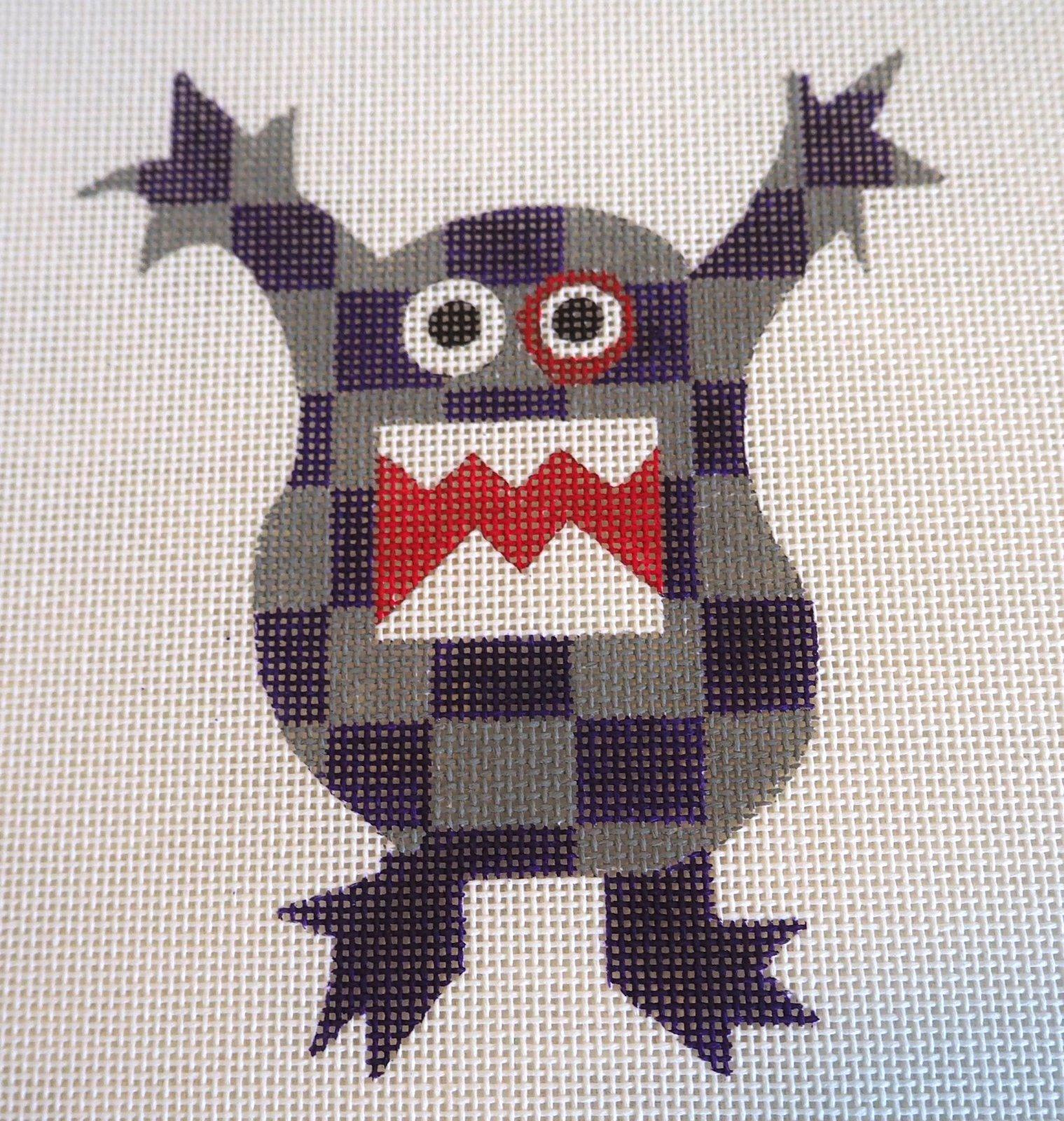 Purple & Gray Plaid Monster Needlepoint