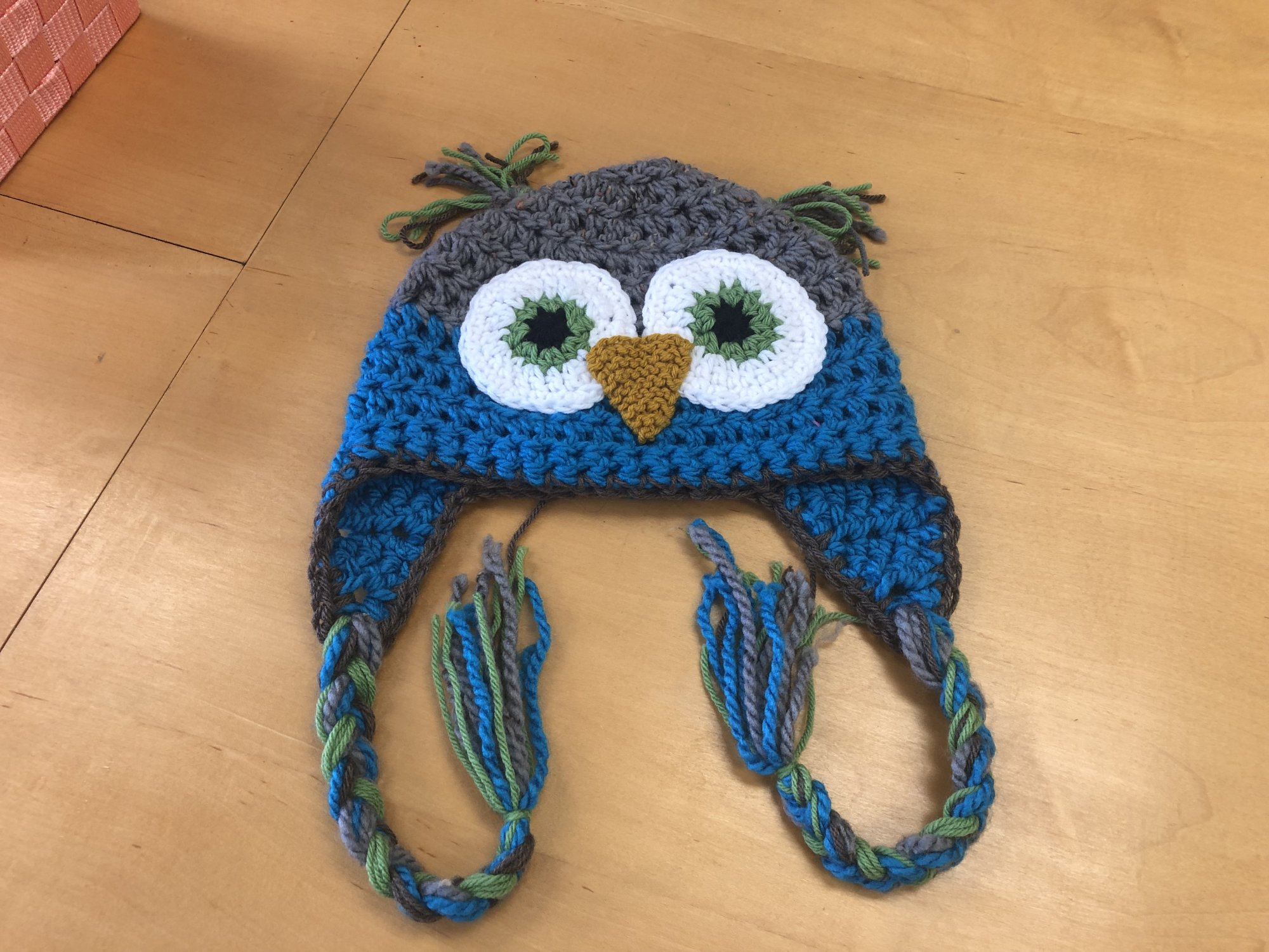 Crocheted Owl Hat, Bulky Weight