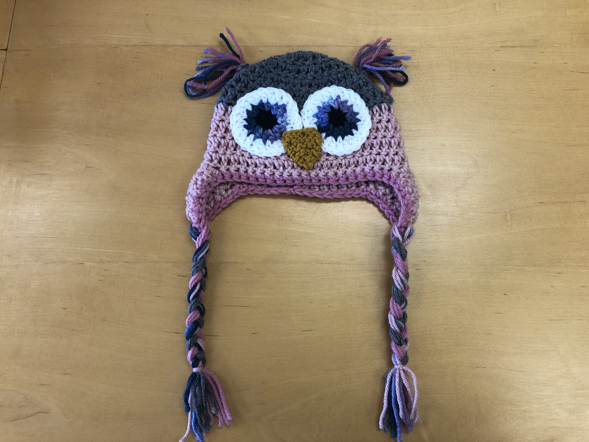 Crocheted Owl Hat, Worsted Weight