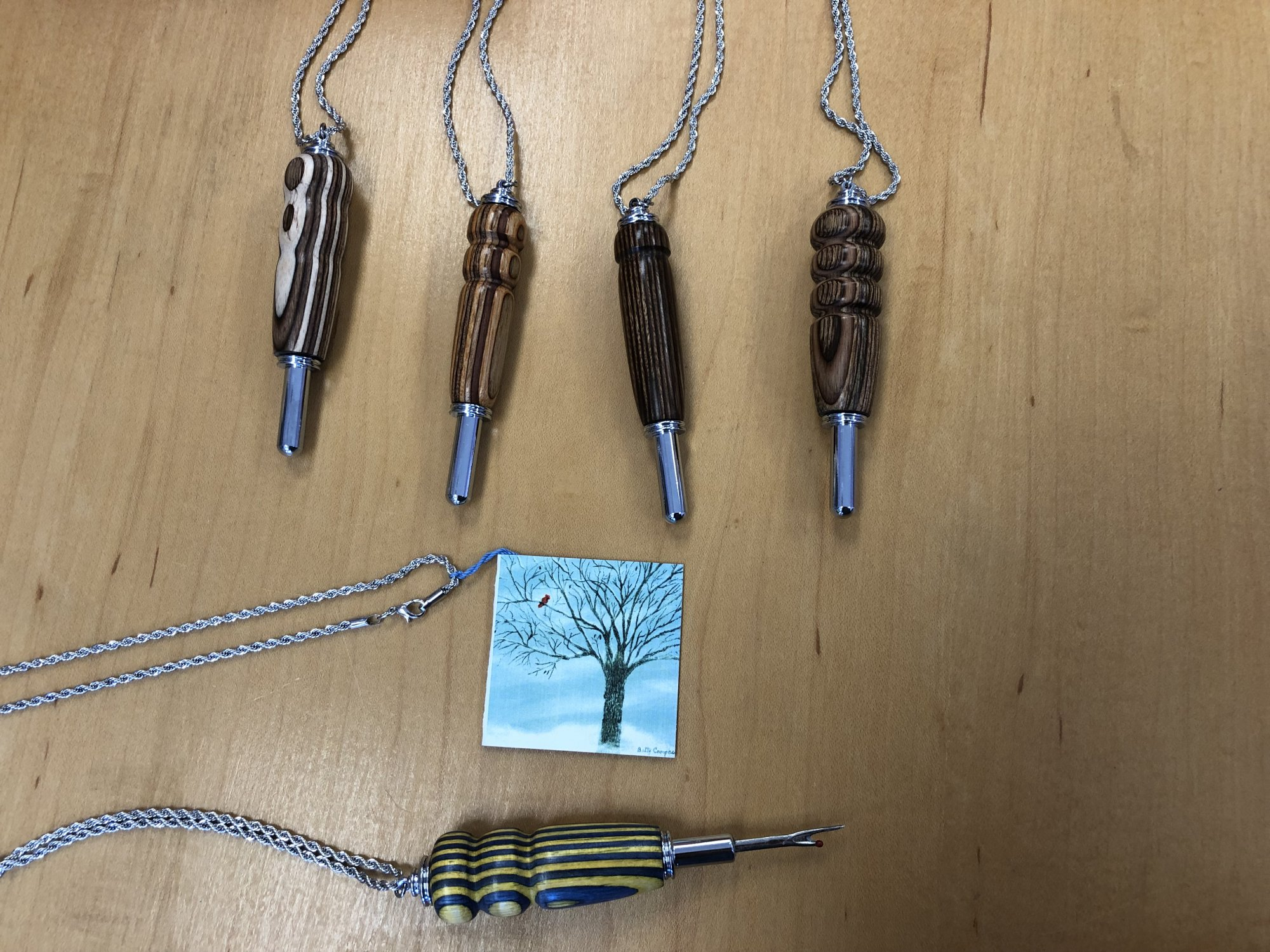 Seam Ripper Necklace, Wood