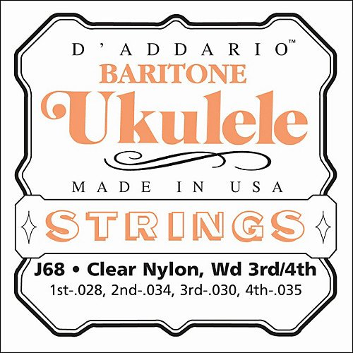 D'Addario J68 Clear Nylon Baritone Ukulele Strings