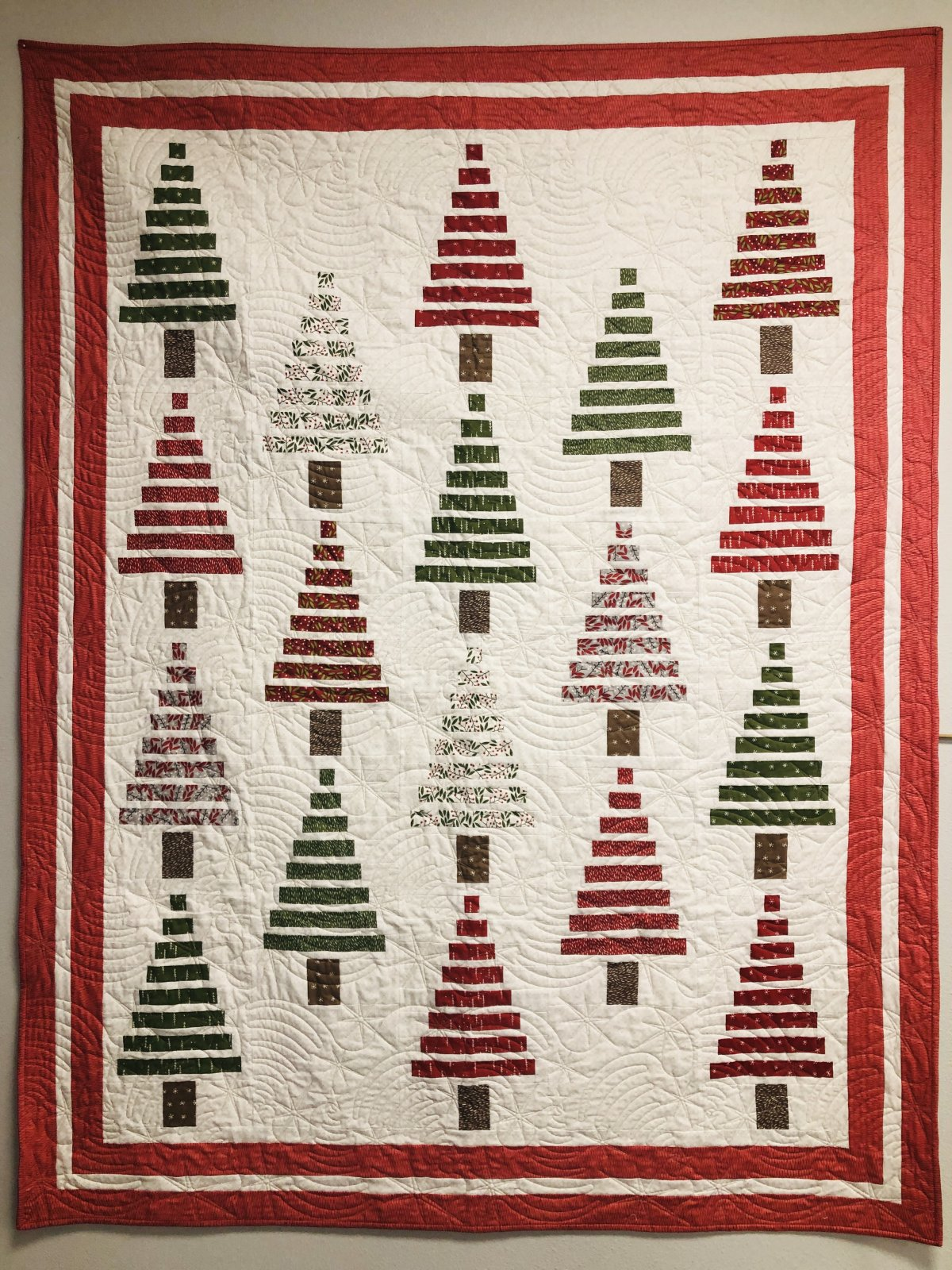 Merriment in the Strippy Forest Quilt 60 x 75