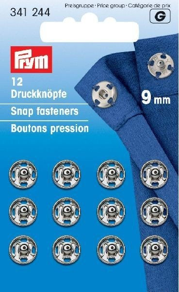 Snap Fasteners - 9mm - 12 pc - Silver