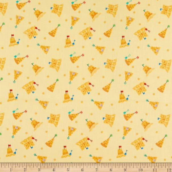 Small Things... By the Sea - Sandcastles on Sandy Yellow - 1 meter Cut x WOF