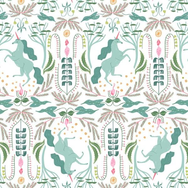 Mythical - Unicorn Toile - White