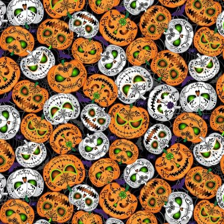 Day Of The Dead - Scary Pumpkins - Black - Glow In The Dark - 1pc - 0.91m/36in