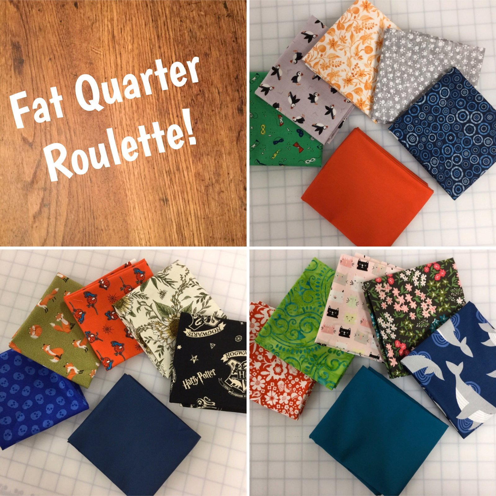 Fat Quarter Roulette! Mystery 5-pack with 1 KONA FQ Free!