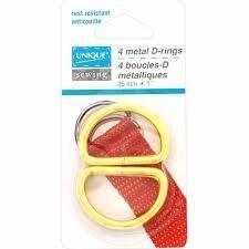 UNIQUE Metal D-rings - 25mm - Gold - 4pcs