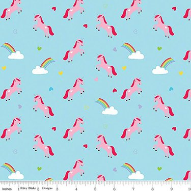 Designer Flannel - Once Upon A Time - Unicorn - Blue