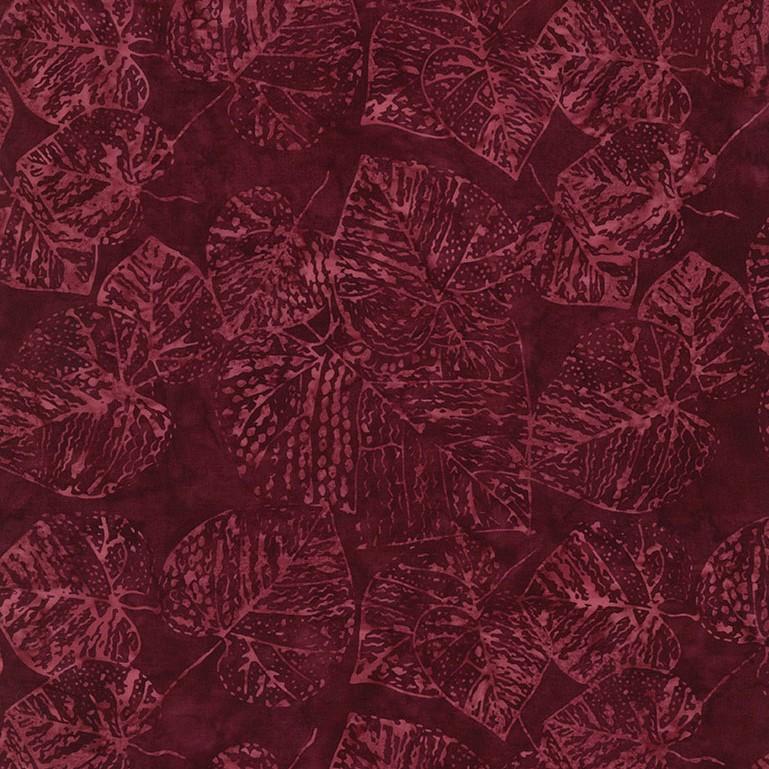 Batik - Tonga - Fossil Leaf - Ruby - 1pc - 1.11m/44in