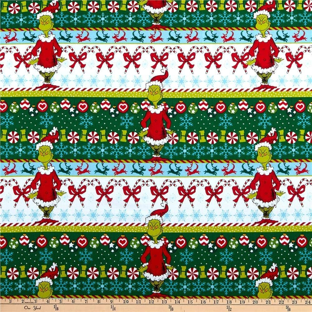 How The Grinch Stole Christmas - Border Stripe - White - 1pc - 0.60m/24in