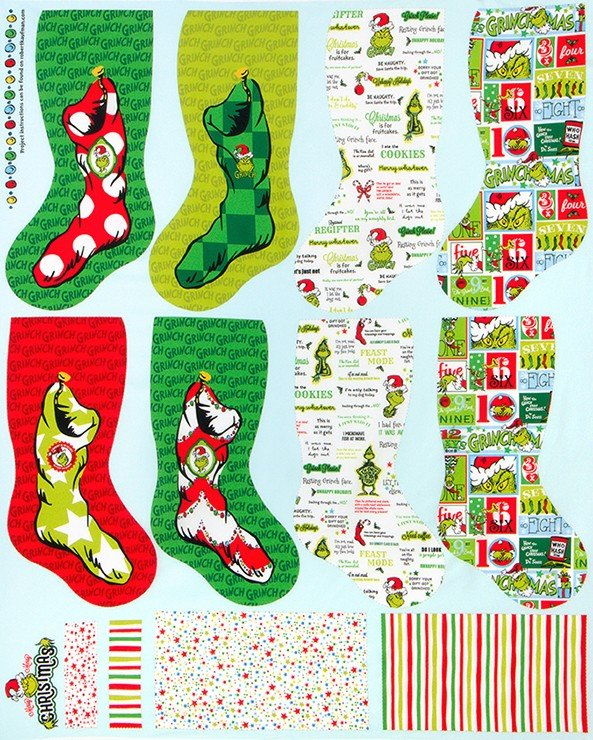 Panel - 36in - How The Grinch Stole Christmas - Stockings
