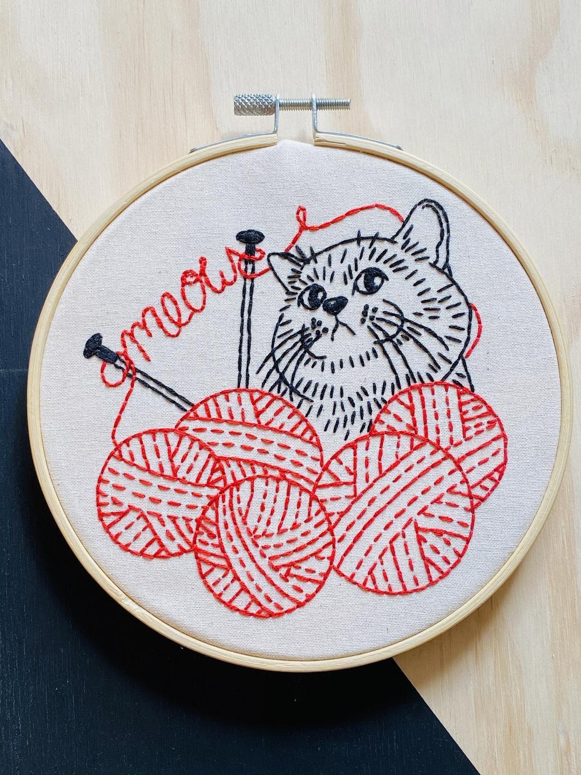 Knittin' Kitten - Complete Embroidery Kit