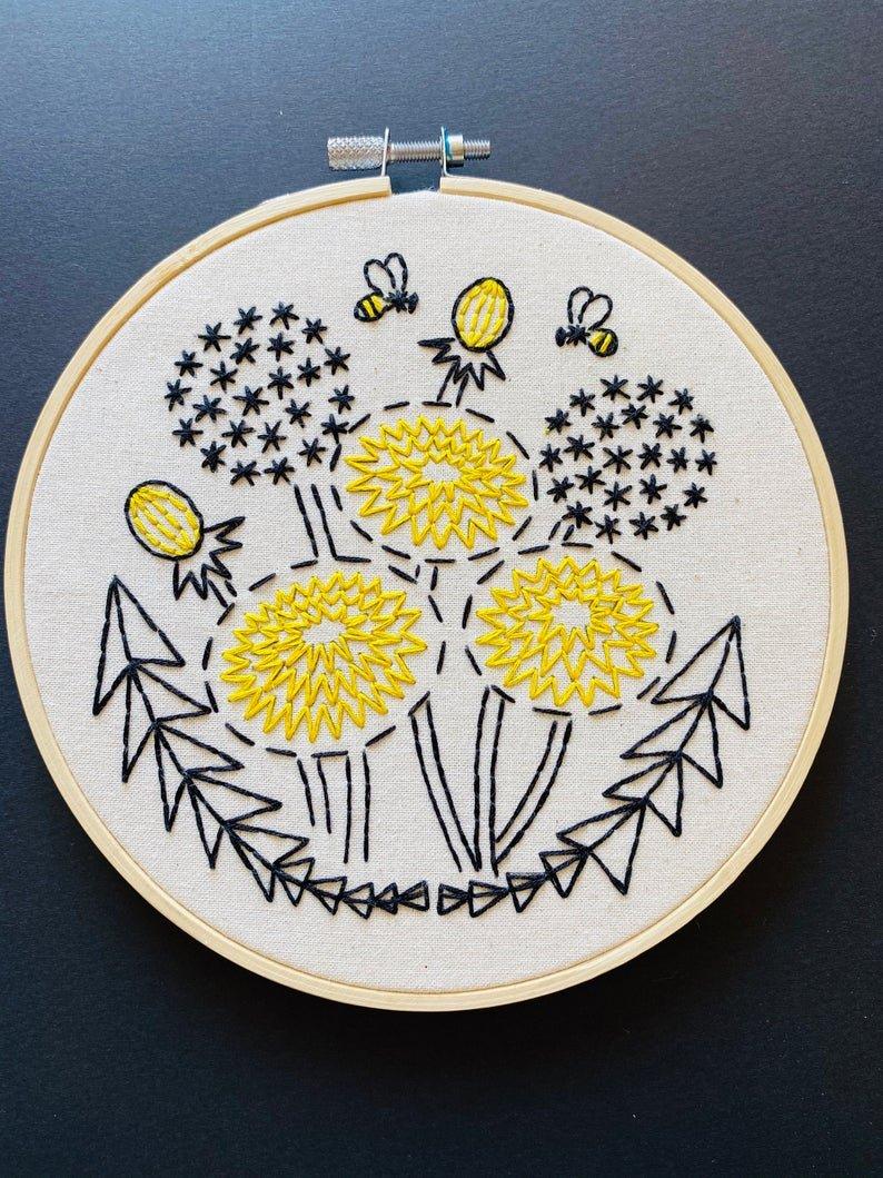 Bee Kind, Dandelion - Complete Embroidery Kit