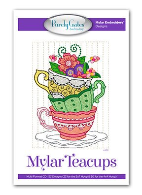 Purely Gates - Mylar Embroidery Designs - CD - Teacups