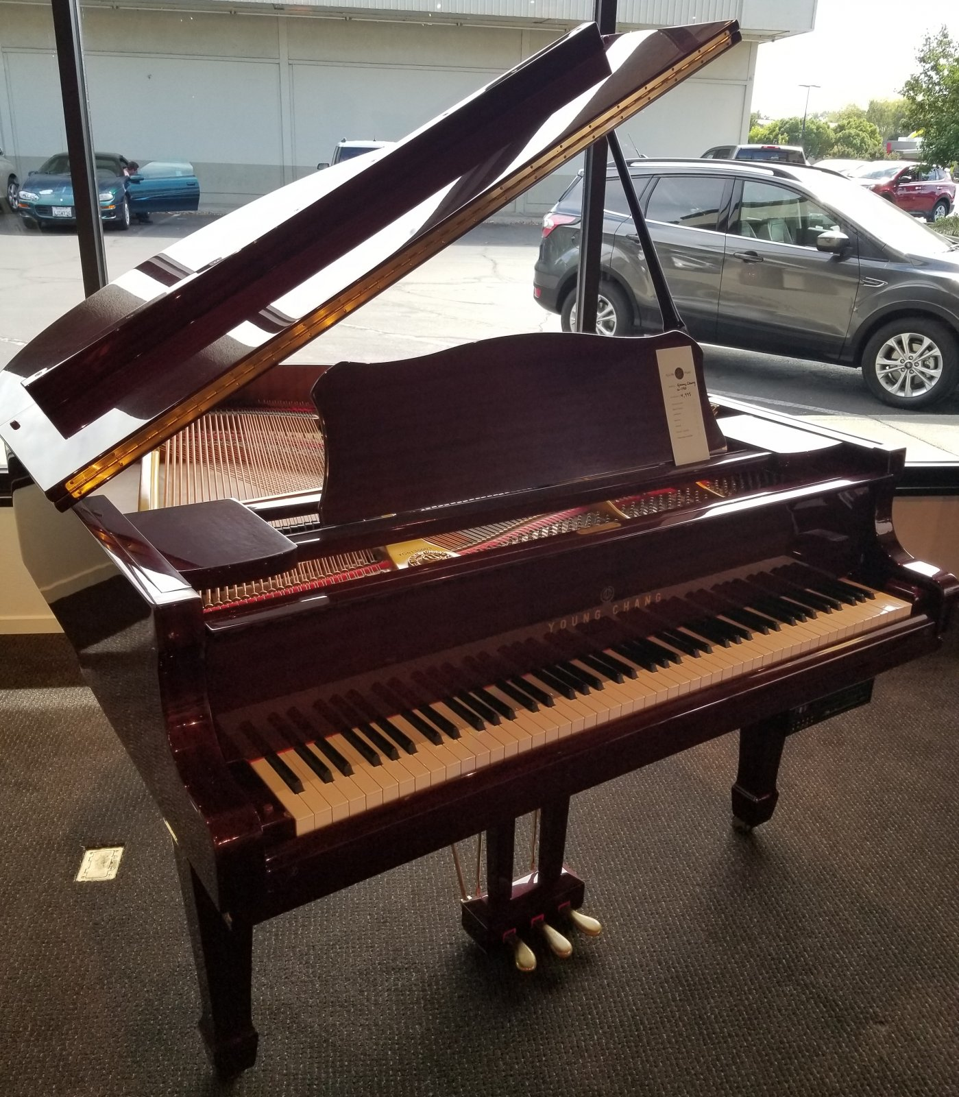 Young Chang G1-50 Mahogany Baby Grand Piano w/ QRS Pianomatic 2000+ disc player