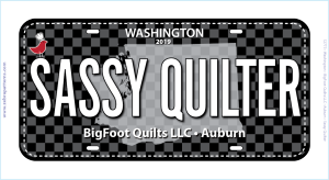 Sassy Quilter Row by Row License Plate