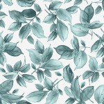 Watercolor Hydrangeas - Teal Leaves