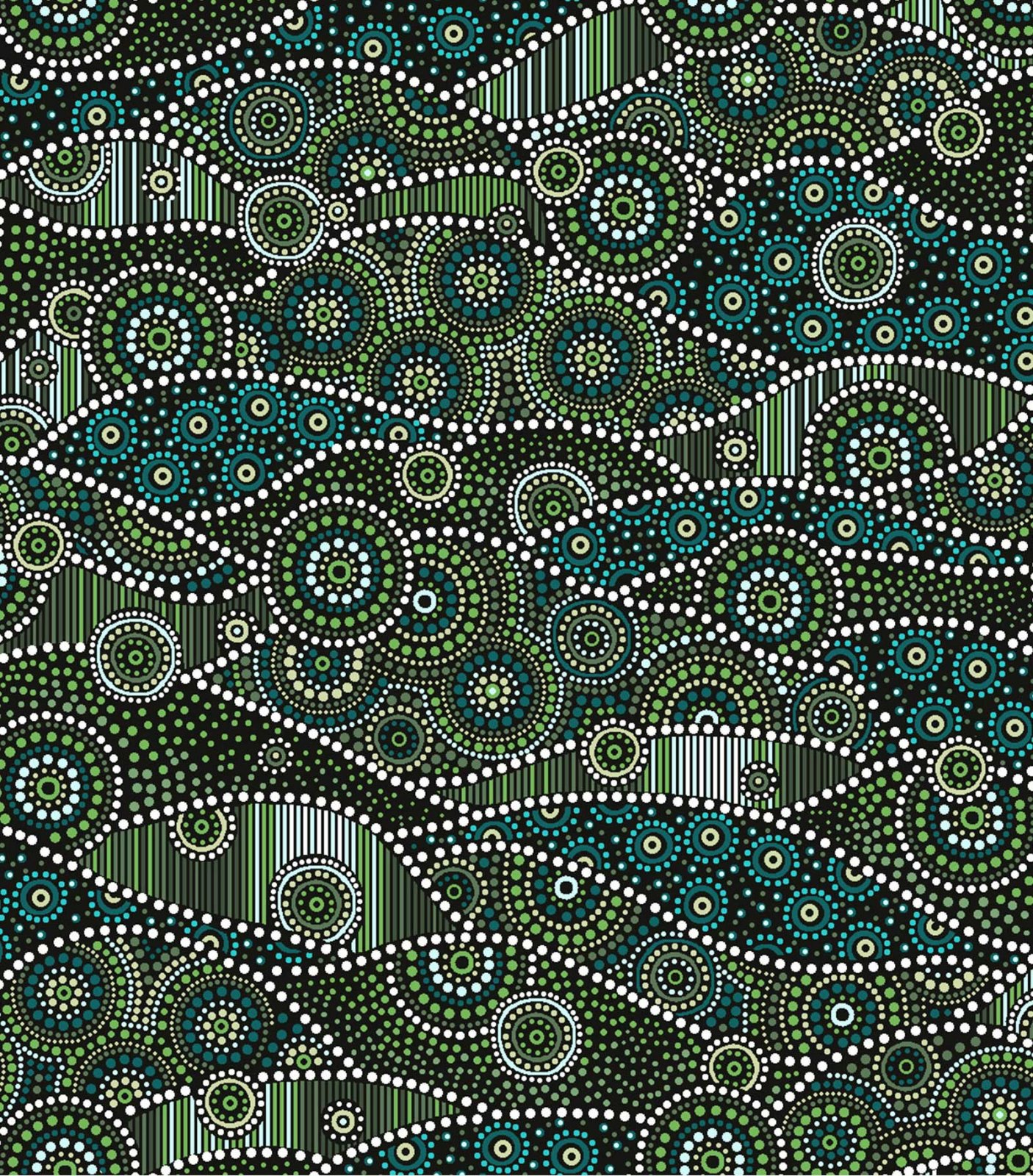 Down Under Aboriginal Waves - Green