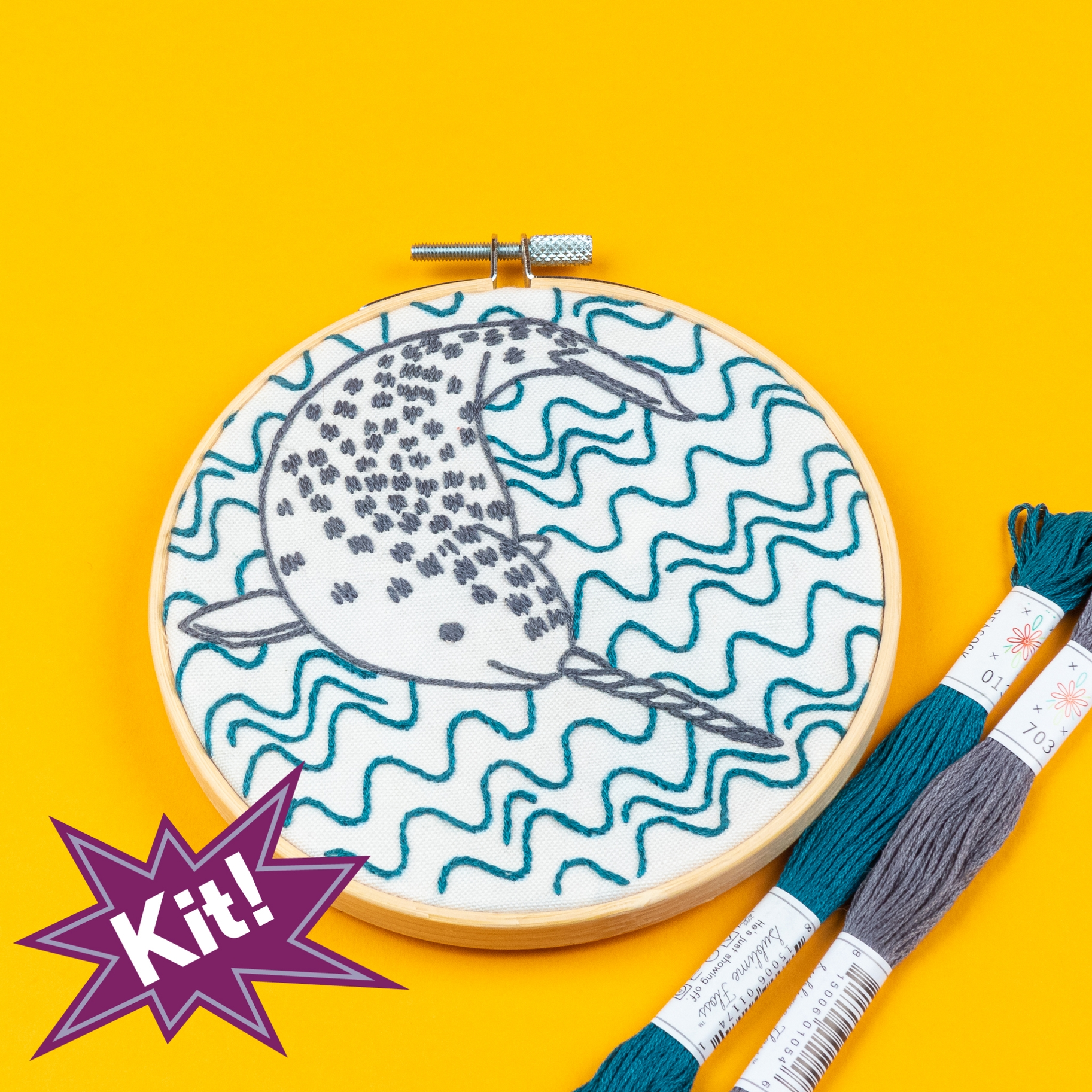 Narly Narwhal 5 Embroidery Kit