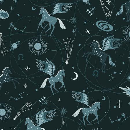 Mystical - Astro Pegasus - Teal Fabric
