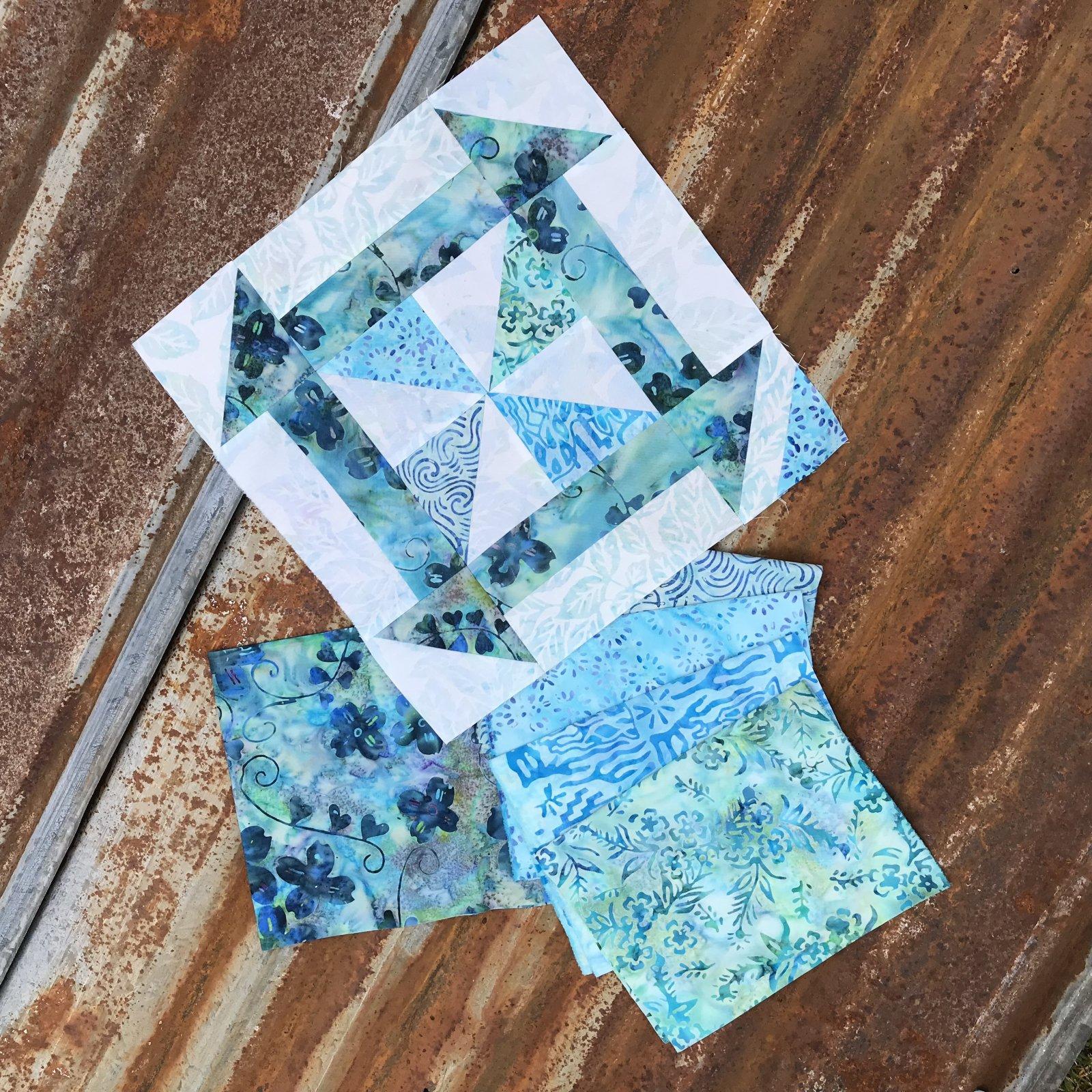 Building Blocks - Churn Dash Teal Pinwheels