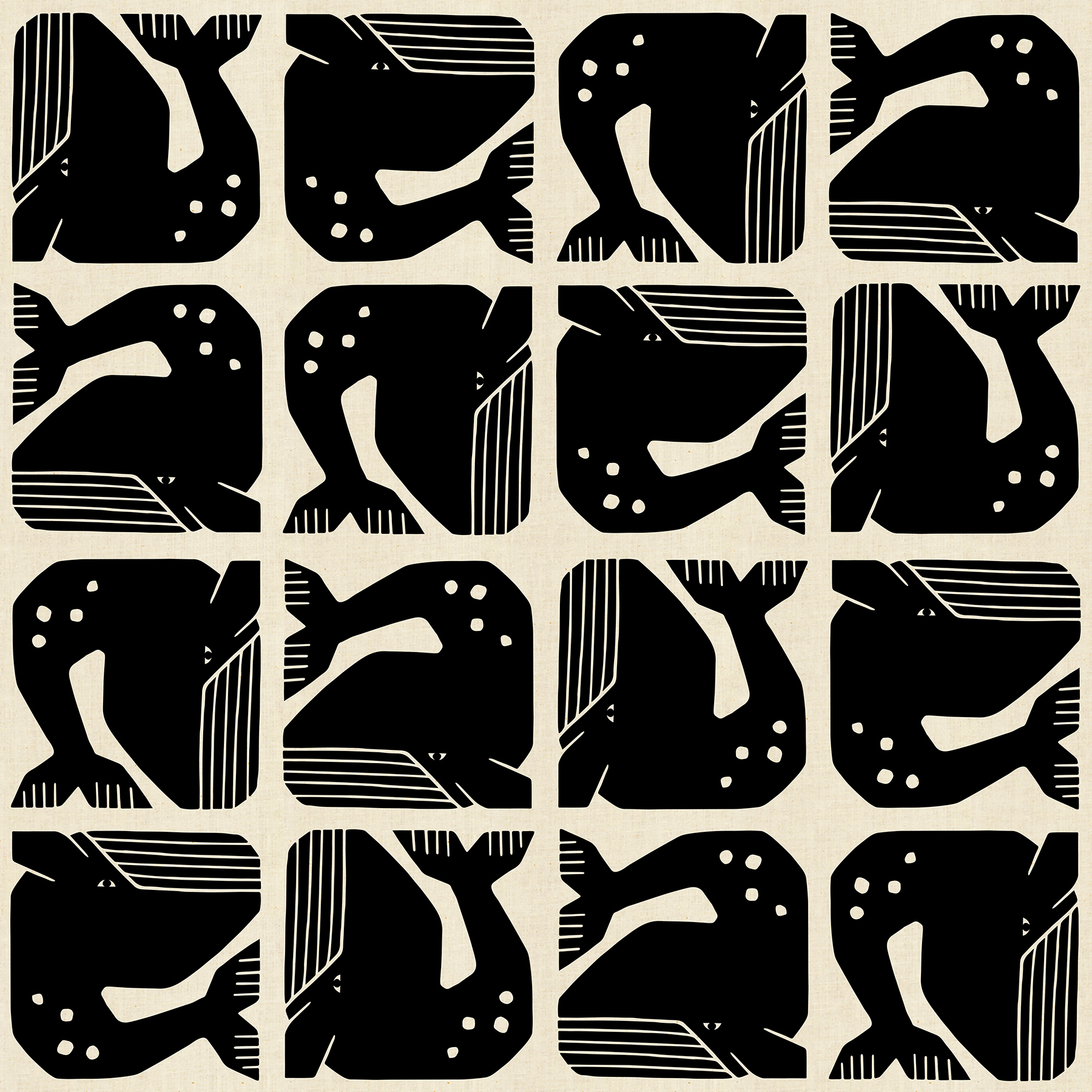 By the Seaside - Grumpy Whale - Black Unbleached Fabric