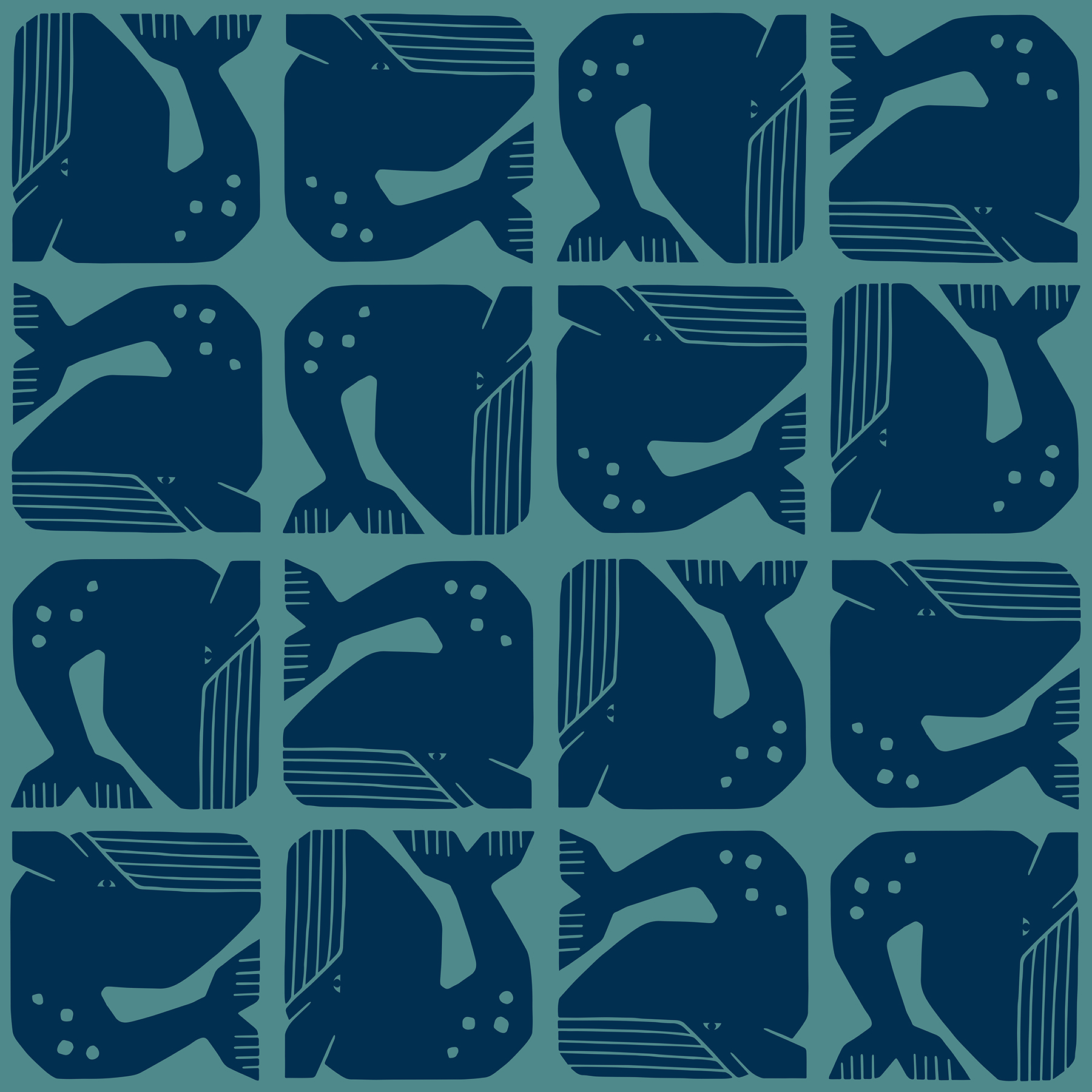 By the Seaside - Grumpy Whale - Navy Fabric