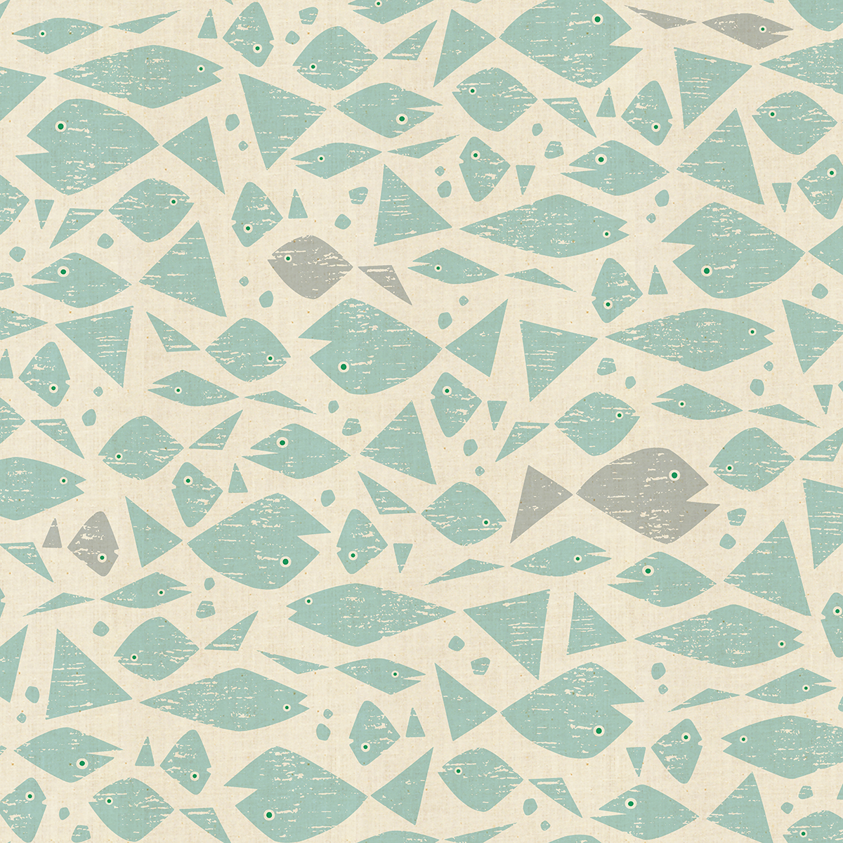 By the Seaside - Happy Fish - Aqua Unbleached Fabric