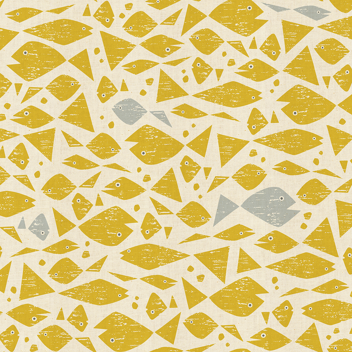 By the Seaside - Happy Fish - Yellow Unbleached Fabric