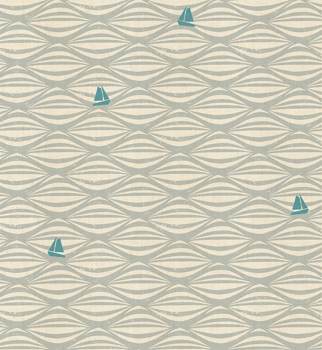 By The Seaside - Ahoy - Fog Unbleached Fabric