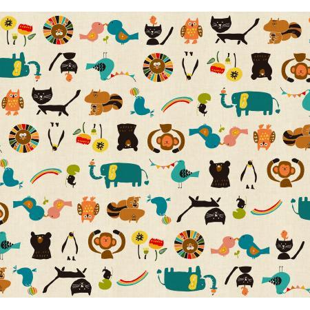Kawaii Nakama - Animal Parade - Cream Unbleached Fabric