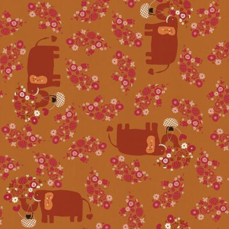 Kawaii Nakama - I Heart Elephants - Acorn Unbleached Fabric