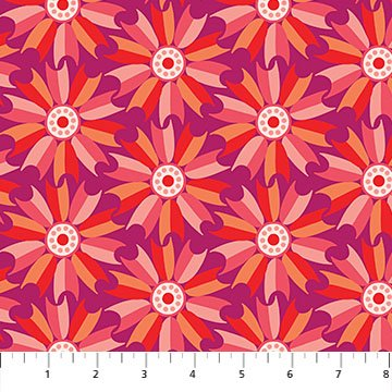 Midsommar - Mill Flower in Red - Rayon