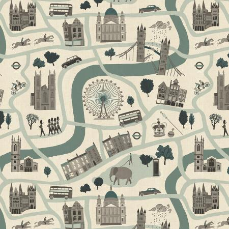 Crystal Clear - London Forever - Mint Unbleached Fabric